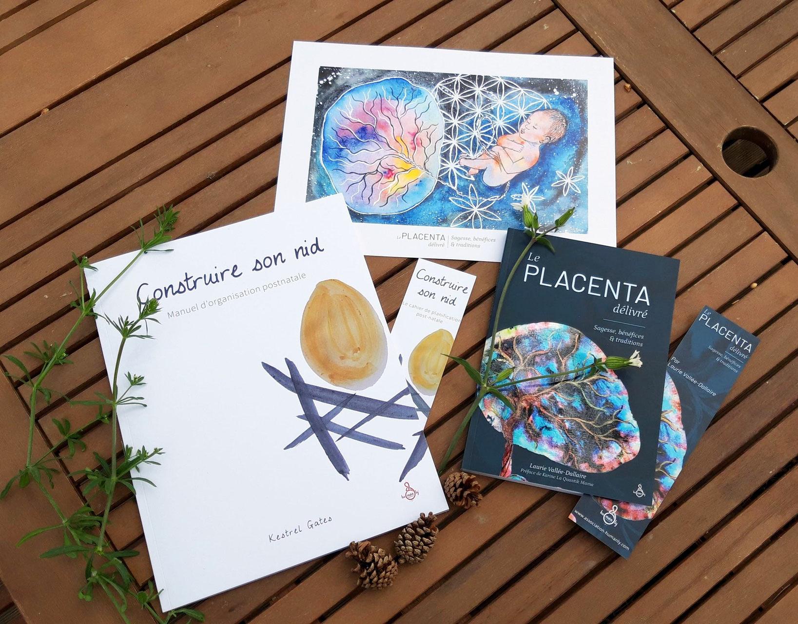couvertures des livres sur le placenta et le postnatale et dessin de placenta