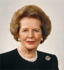 Prime Minister Margaret Thatcher.