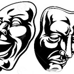 Illustration of theatre comedy and tragedy masks