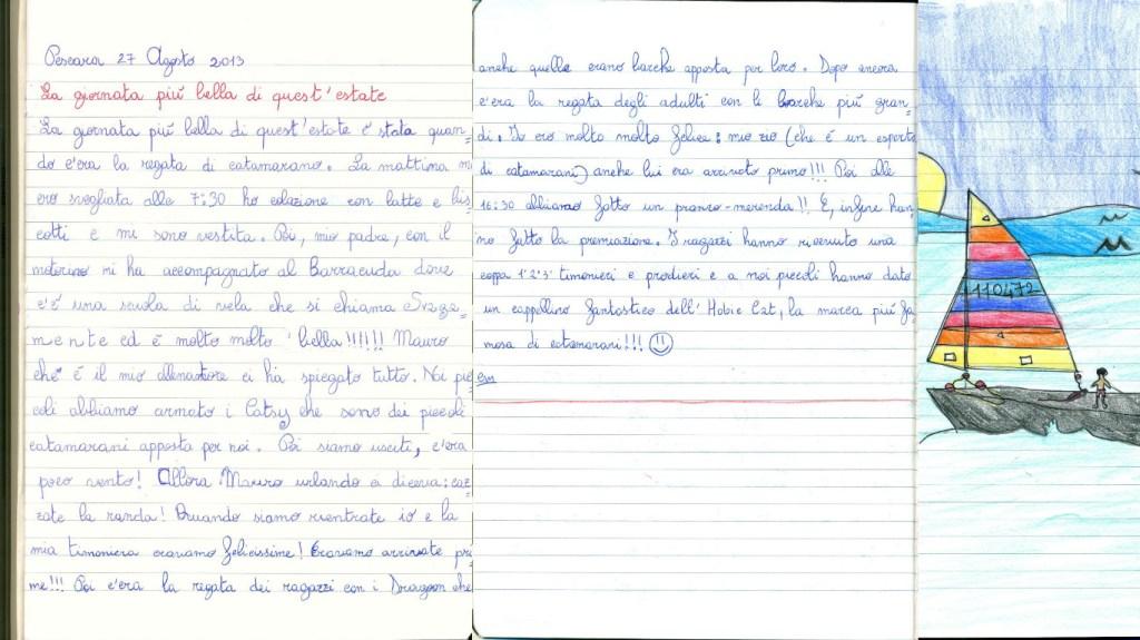 tema LA GIORNATA PIU' BELLA DI QUESTA ESTATE di Cristina Marino - 8anni