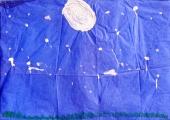 <h5>cielo notturno con la luna e le stelle</h5>