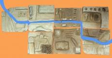 <h5>i percorsi delle nostre giornate </h5><p>opera collettiva in creta composta da sette bassorilievi che raccontano dei percorsi quotidiani dei bambini del gruppo</p>