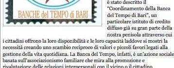 """Dal sito Giornaledipuglia.com """"Banche del tempo, banche di valori"""""""
