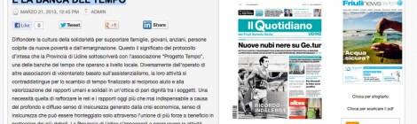 """Da Il Quotidiano on line """"Un accordo tra la Provincia di Udine e la Banca del Tempo"""""""