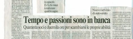"""Da Il Messaggero """"Tempo e passioni sono in banca"""""""