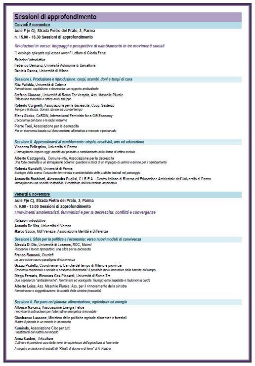 Elenco interventi Sessioni di approfondimento