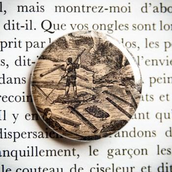 Badge vintage 32mm Bois Flotté