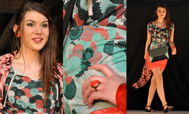Défilé de mode à Clisson, la tenue Skunkfunk de chez Léa Mundis avec des bijoux Assuna