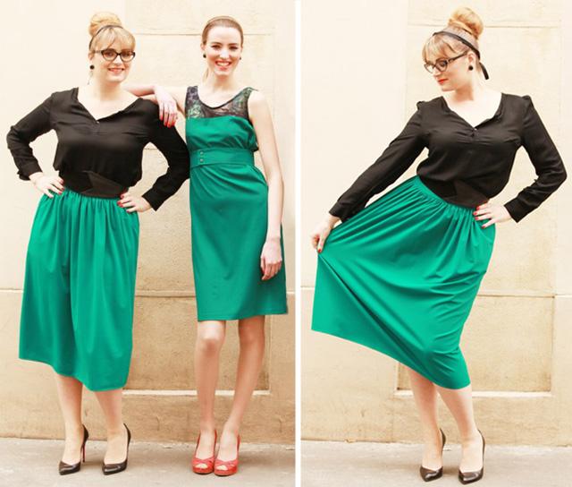 Jupe Athènes vert, haut Dandy noir et robe Manhattan vert