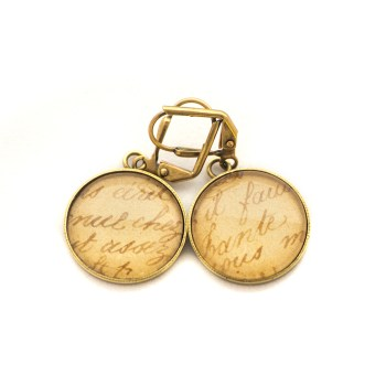 Boucles d'oreilles dorée carte postale Ecriture Sepia