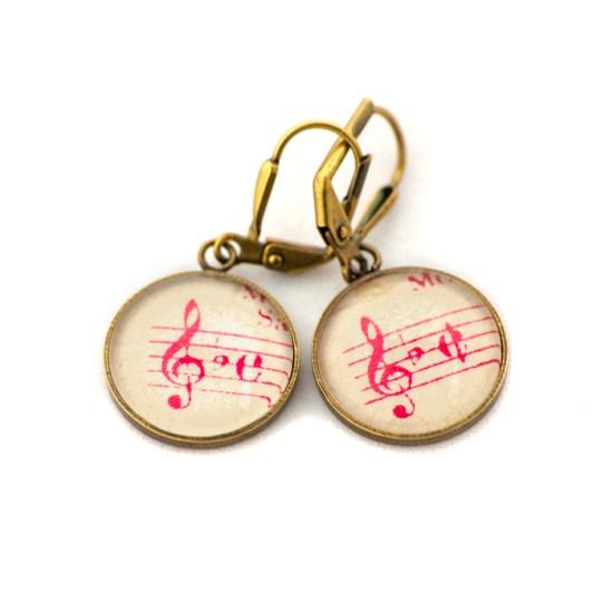 Boucles d'oreilles dorée Partitions Clé Bémol Rose