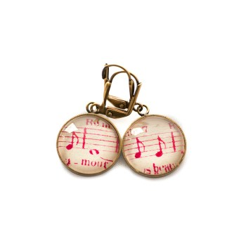 Boucles d'oreilles dorées Partitions Notes roses Amour