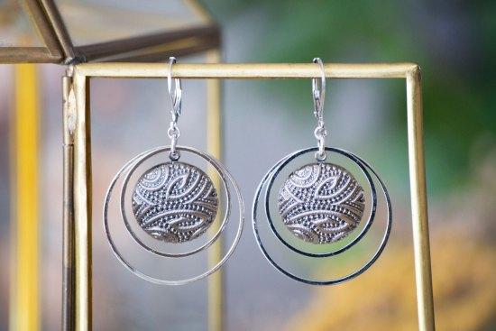 Assuna - Grandes boucles Lunare Garance argenté - Grandes dormeuses double cercles Garance argenté - inspiration vintage