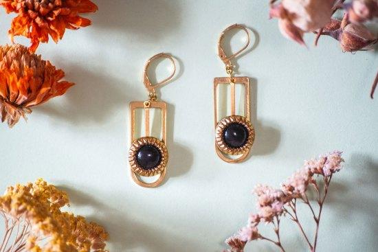 Assuna - Boucles Ysée Eva - bijoux léger géométrique bouton ancien inspiration vintage