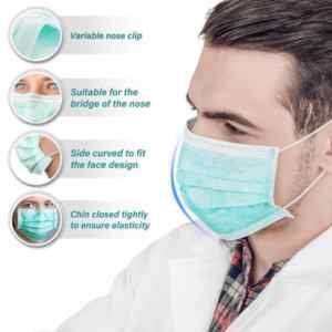 DUST GUARD disposable sanitary mask medical surgery 3-layer mask-elastic earrings,50 PCs per box