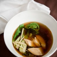 Ginger Poached Chicken Broth Soup