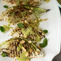Grilled Green Cabbage with Cilantro Peanut Sauce