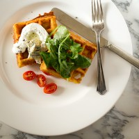 Savory Corn Waffles with Yogurt Cream and Arugula Salad