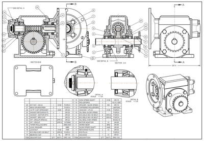 cad conversion of reducer gear assembly MCD to DWG DGN to DWG