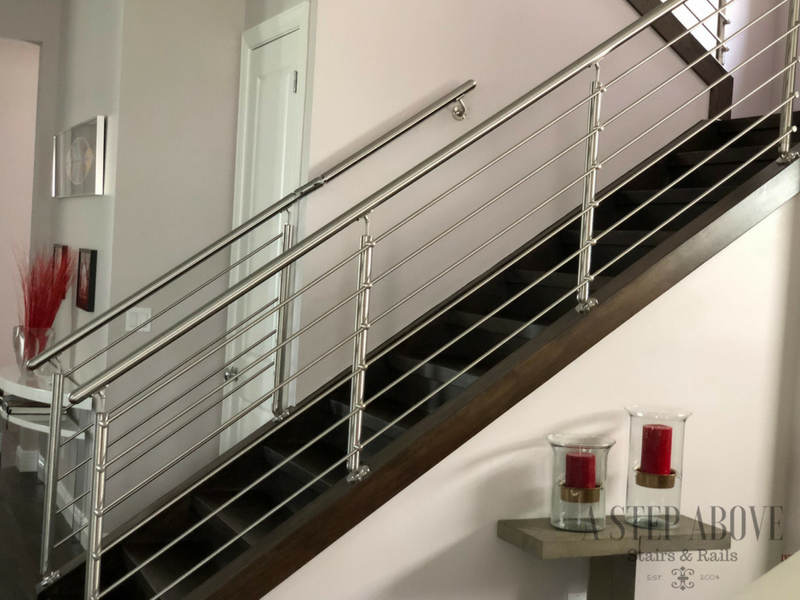 Modern Stair Railing With Stainless Steel Rods A Step