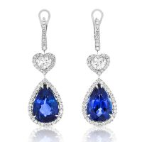 Blue And White Earrings Swiss Blue Topaz And Diamond 14kt ...