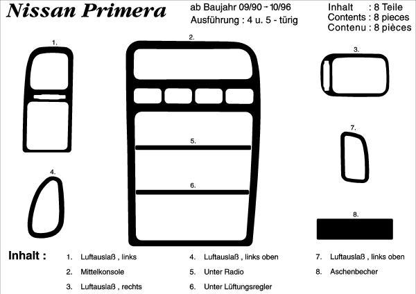 Nissan Primera P10 interiørdekor, Astina.dk