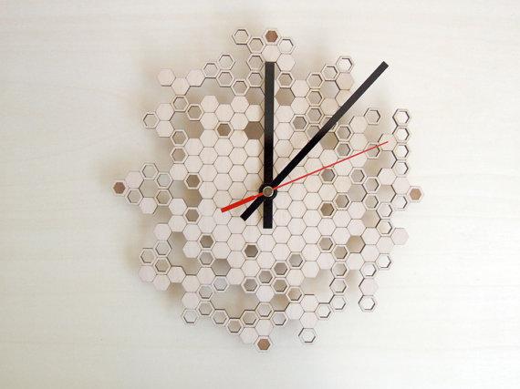 honeycomb wood wall clock via etsy