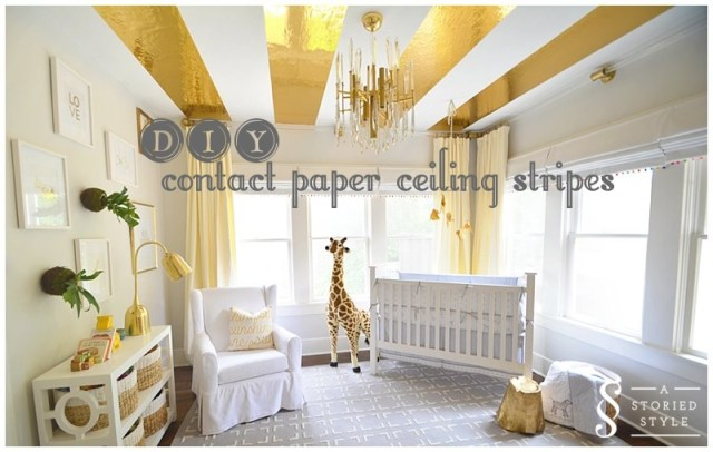 DIY Contact Paper Ceiling Stripes