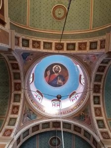 Picture of Christ in dome Orthodox Church of Agios Nikolaos syros