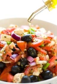 Vegan Greek salad olive oil