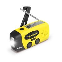esky solar hand crank self-powered emergency radio with led flashlight image