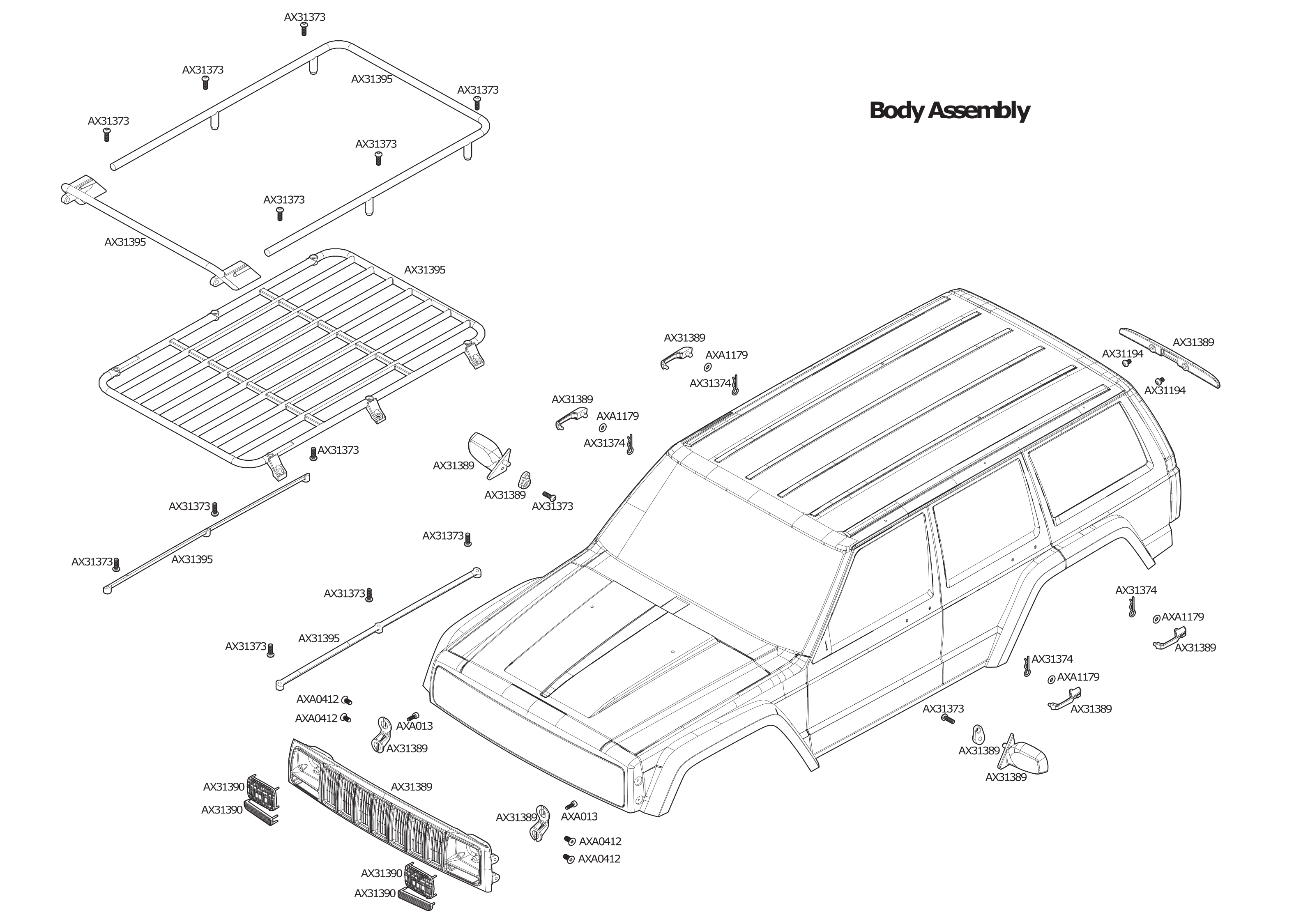 exploded view axial scx10 ii jeep cherokee 1 10 4wd kit body [ 3150 x 2250 Pixel ]