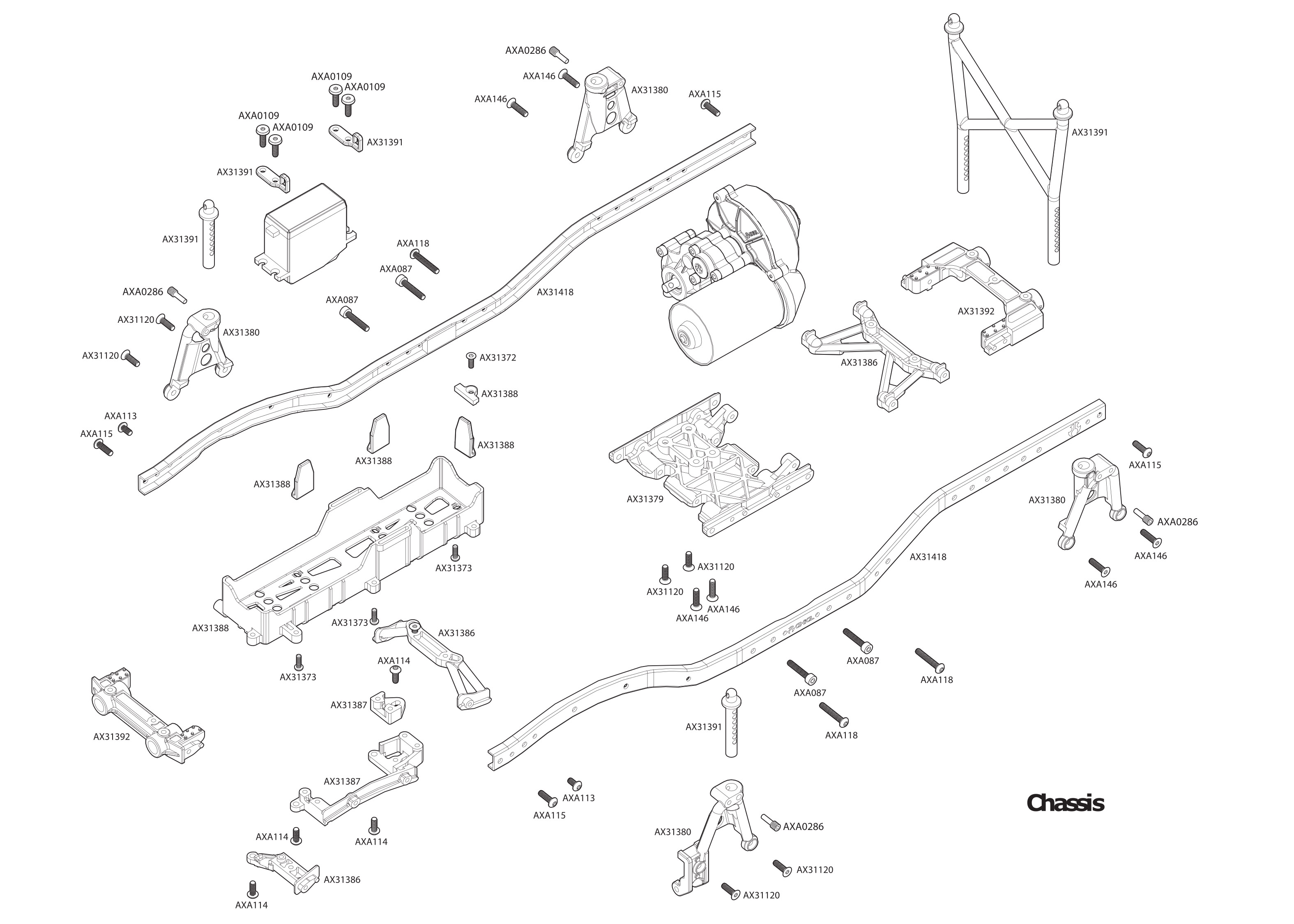 exploded view axial scx10 ii jeep cherokee 1 10 4wd rtr chassis [ 3150 x 2250 Pixel ]