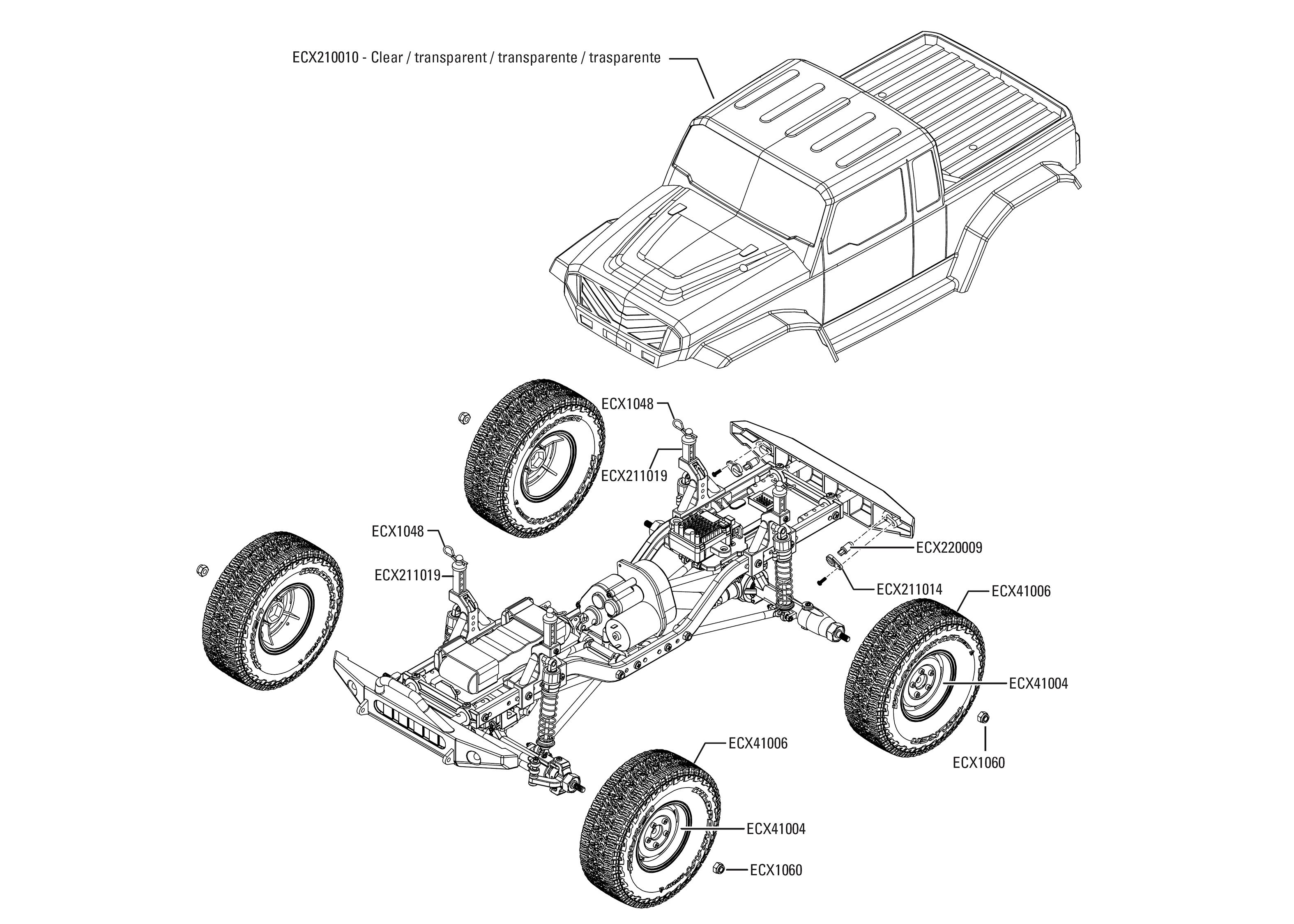 hight resolution of exploded view ecx barrage 1 9 4wd kit rtr body