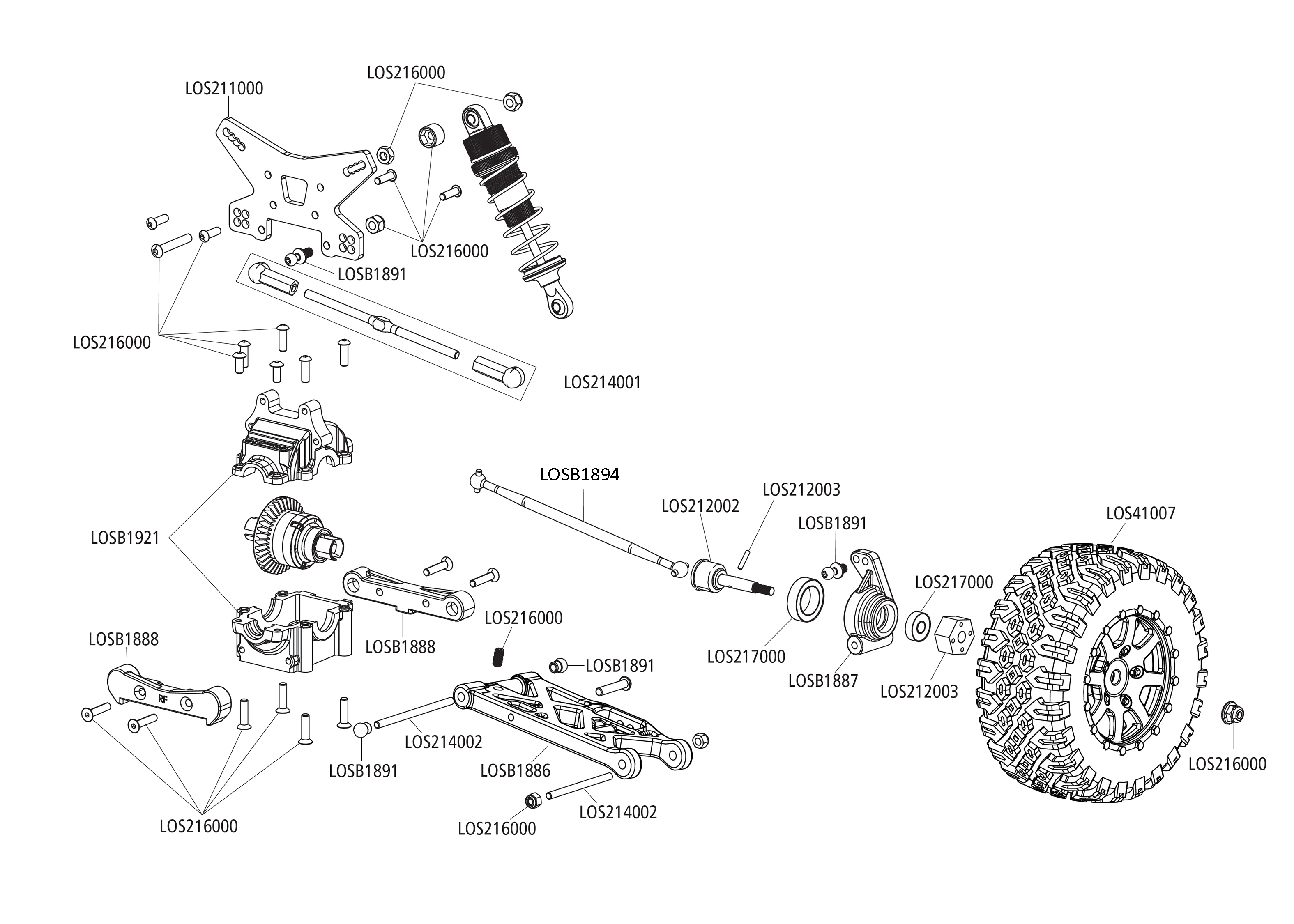 hight resolution of exploded view losi mini 8ight db buggy 4wd rear part
