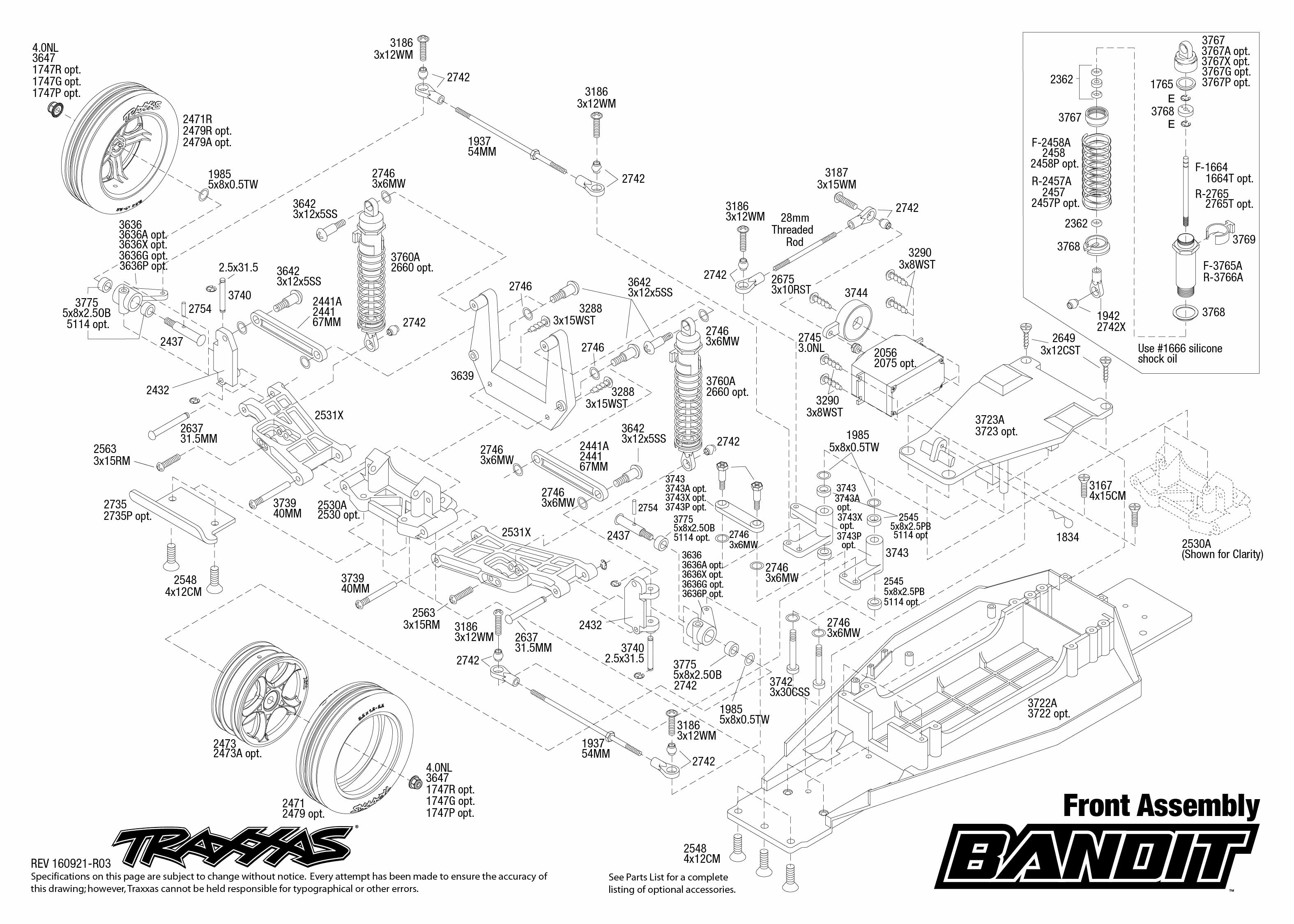 exploded view traxxas bandit 1 10 tq rtr front part [ 3150 x 2250 Pixel ]