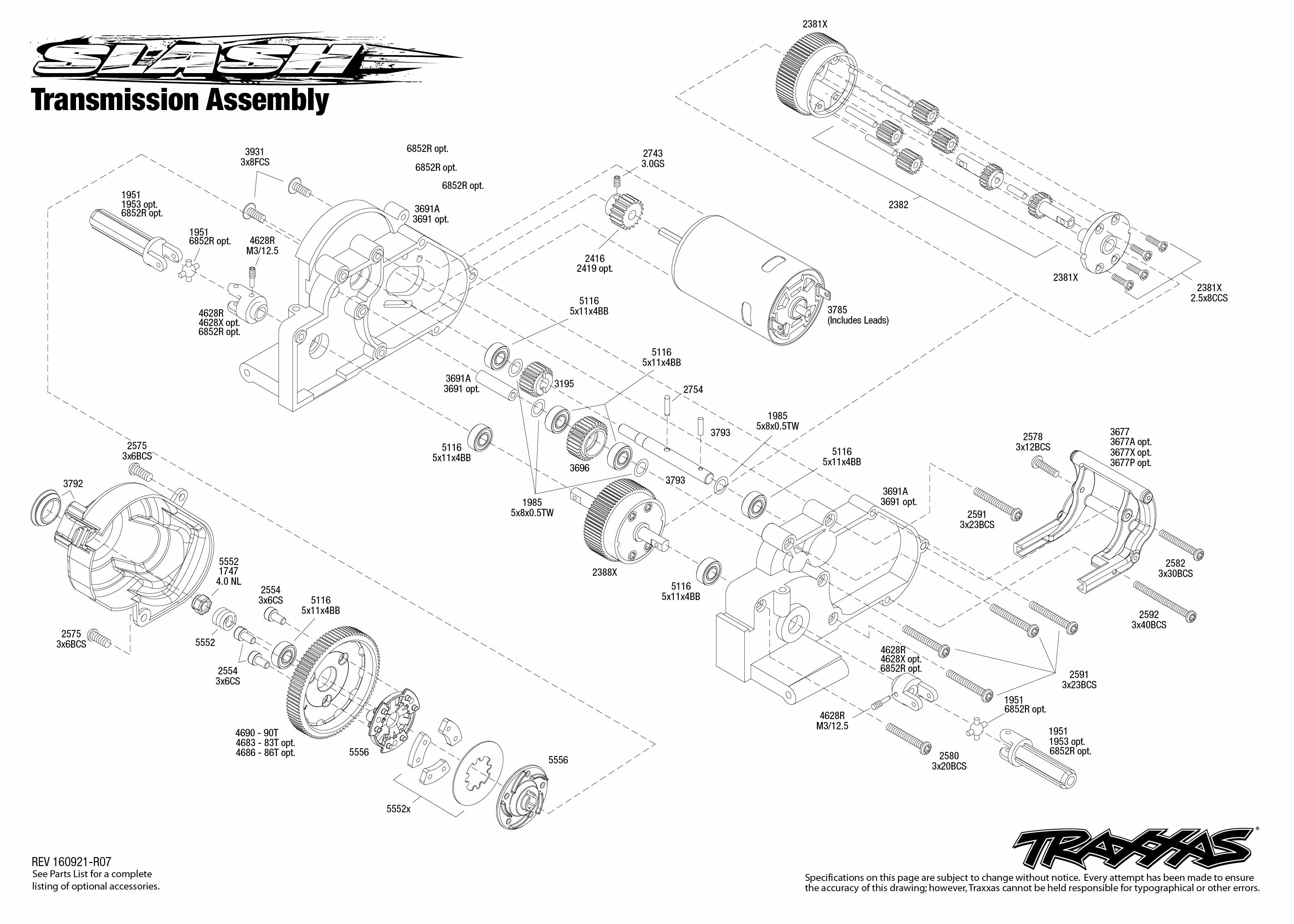 hight resolution of exploded view traxxas slash 1 10 tq rtr onboard audio t maxx 2 5 aluminum traxxas 2 5 transmission diagram electrical