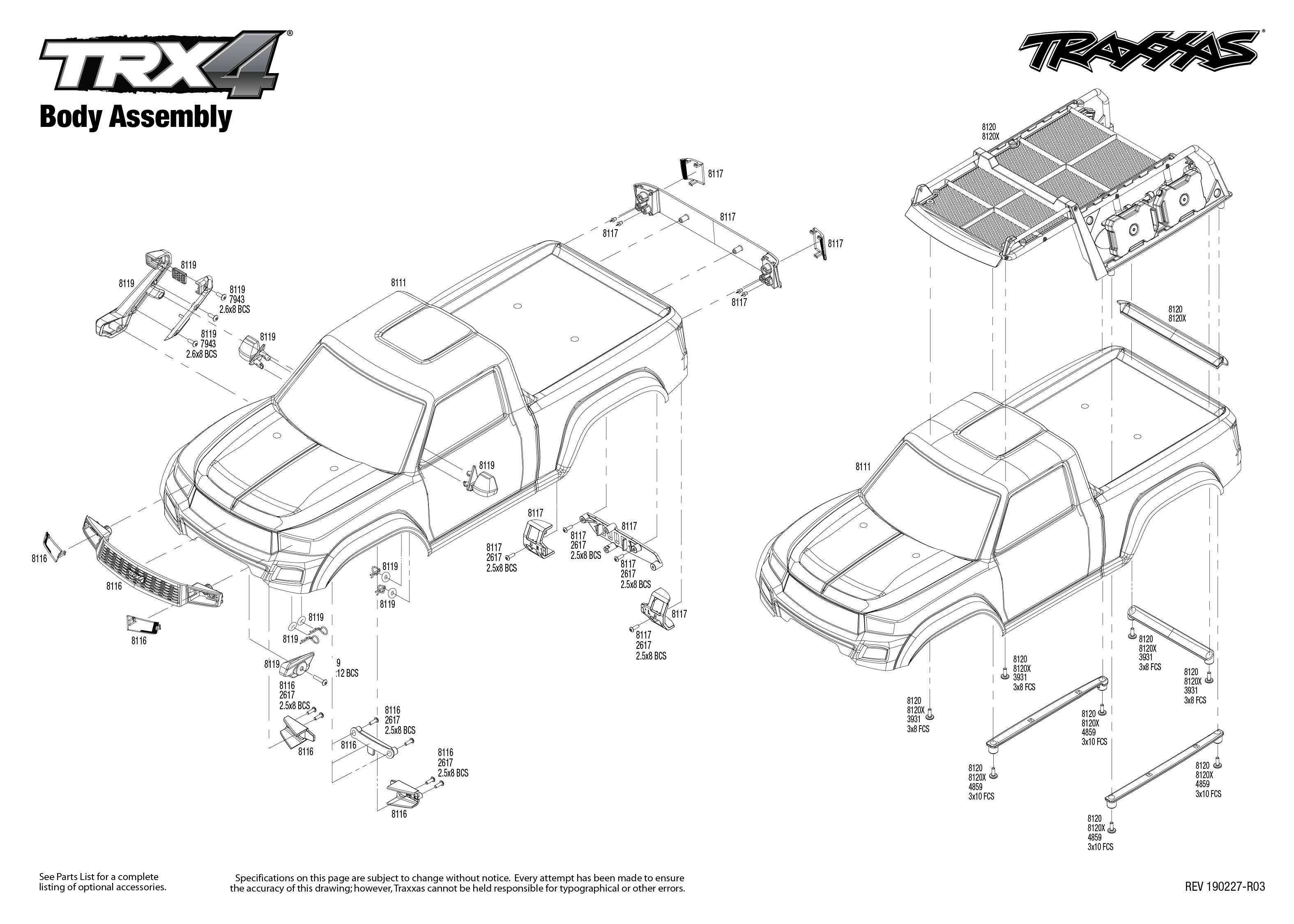exploded view traxxas trx 4 sport 1 10 kit body [ 3150 x 2250 Pixel ]
