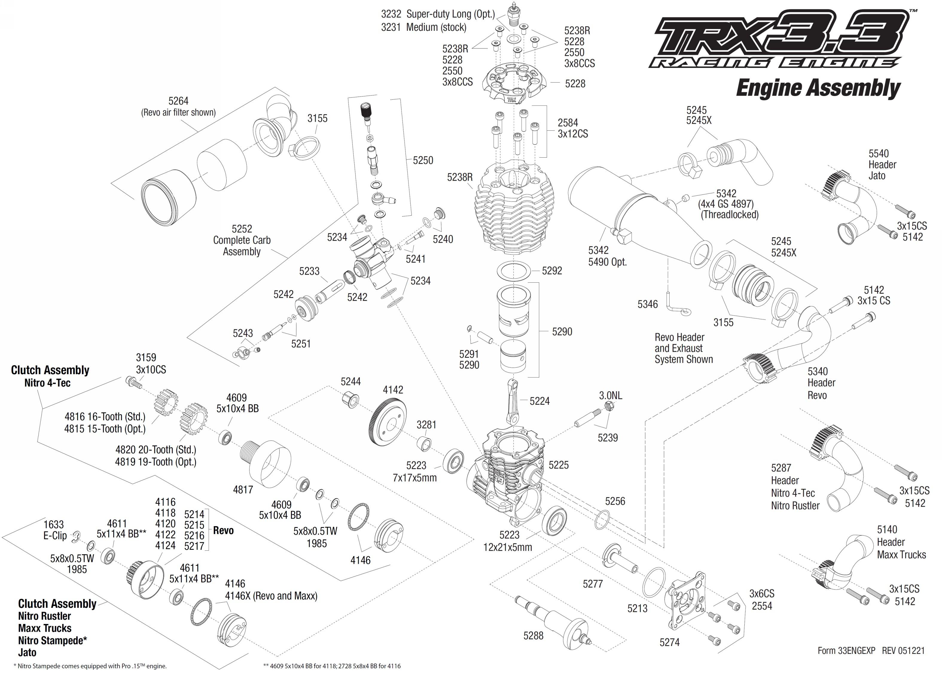 medium resolution of exploded view traxxas engine trx 3 3 engine