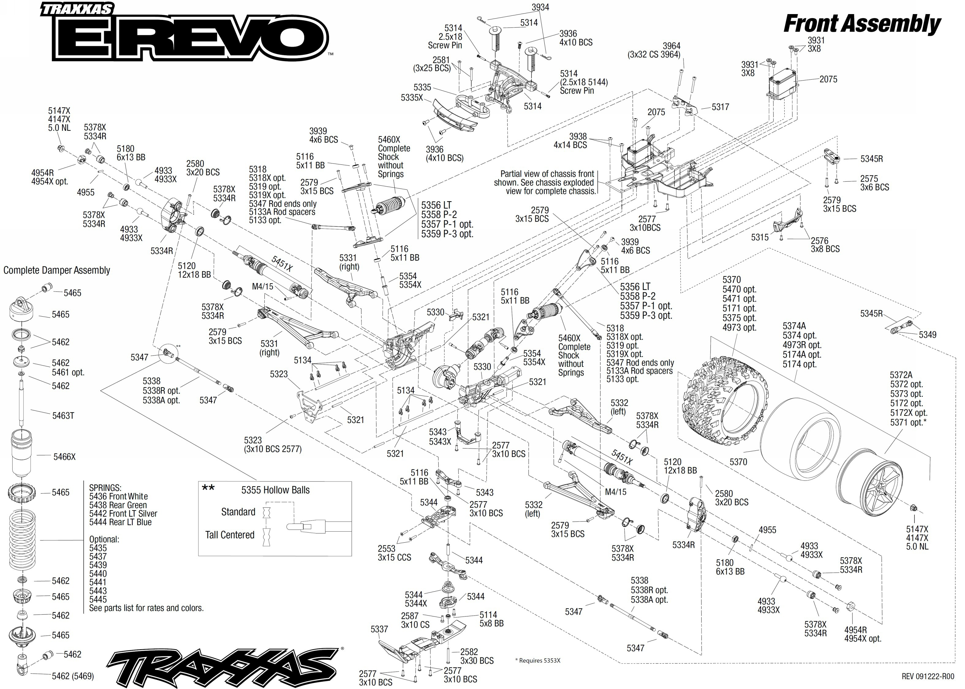 exploded view traxxas e revo 1 10 front part [ 3150 x 2250 Pixel ]