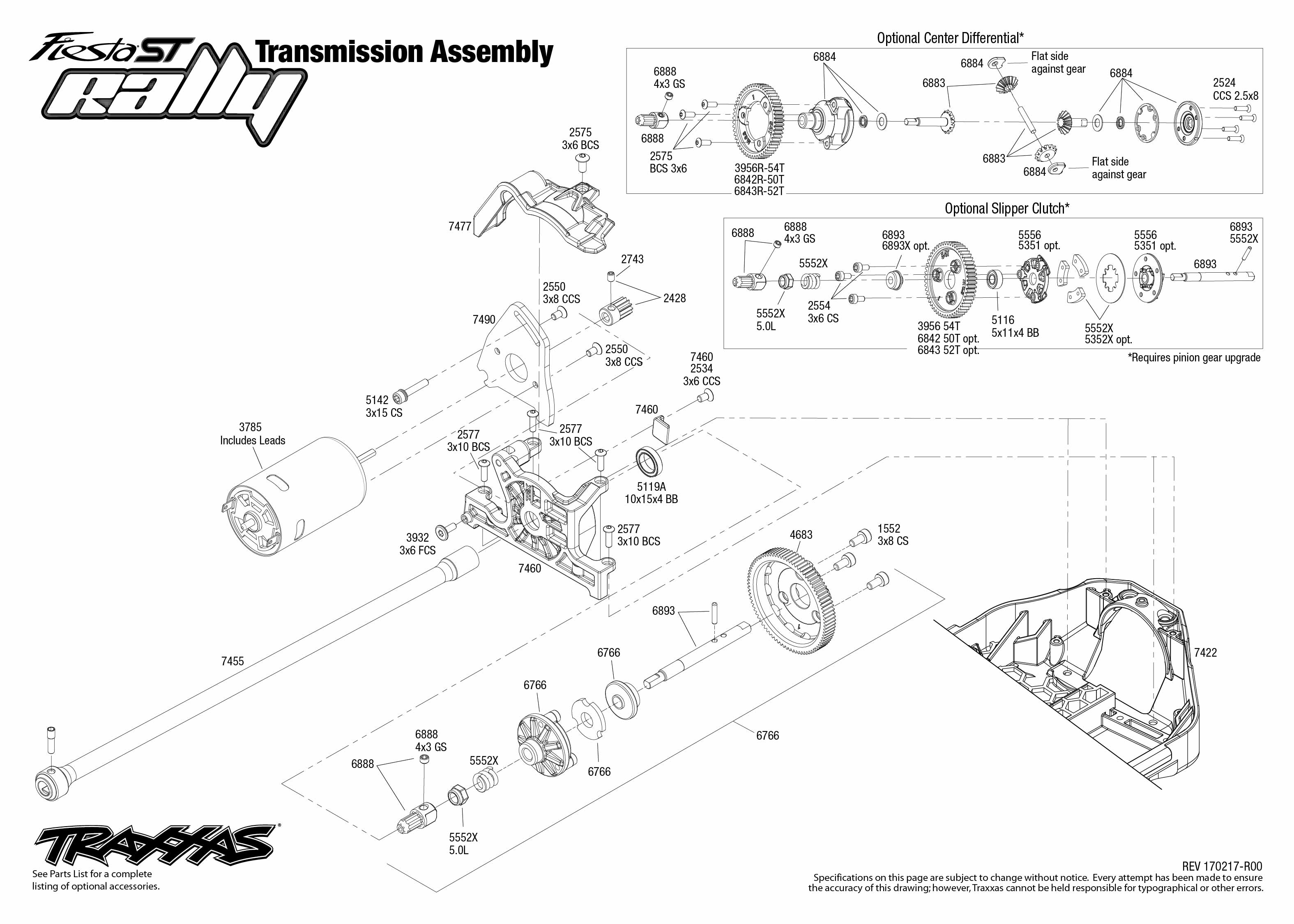 exploded view traxxas ford fiesta st rally 1 10 transmission [ 3150 x 2250 Pixel ]