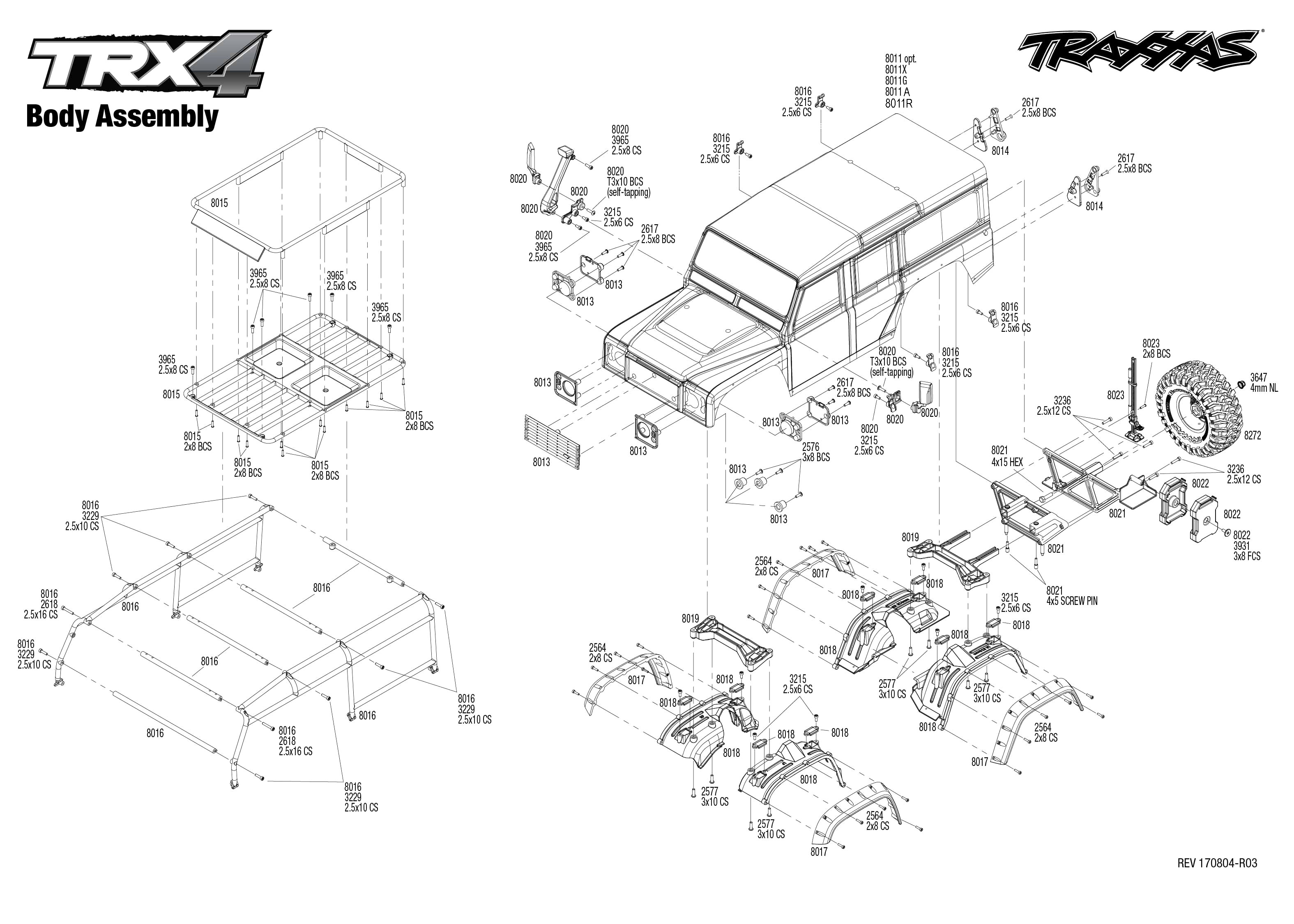 exploded view traxxas trx 4 land rover defender body [ 3150 x 2250 Pixel ]