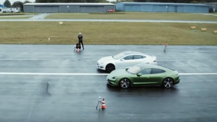Η πρώτη κόντρα μεταξύ του Tesla Model S και της Porsche Taycan