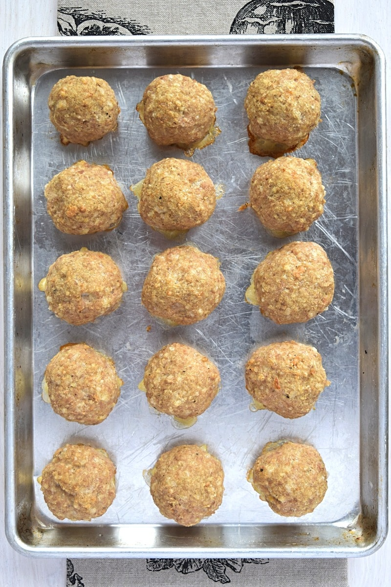 tray of turkey meatballs