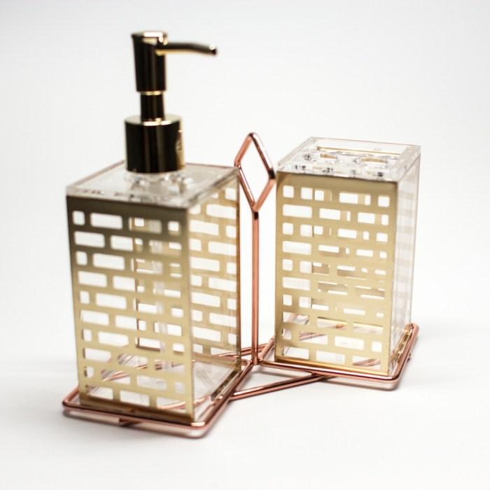 Bathroom Fashion Pattern Shampoo Holder Gold