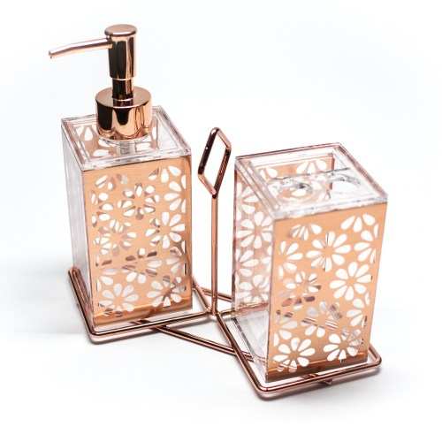 Acrylic Rose Gold Portable Bathroom Set