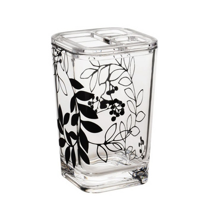 Bathroom Accessories, Clear Acrylic Toothpaste&Toothbrush Organizer with Black Flower Style