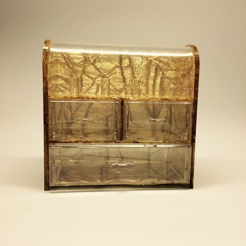 Gold Clamshell Jewelry Storage Box with 3 drawers
