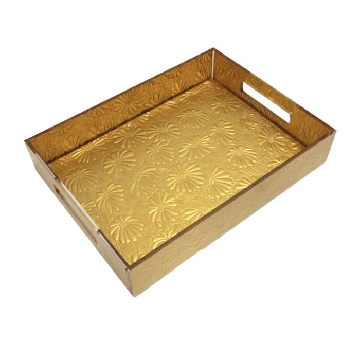 Gold Acrylic Handmade Flower Pattern File Organizer