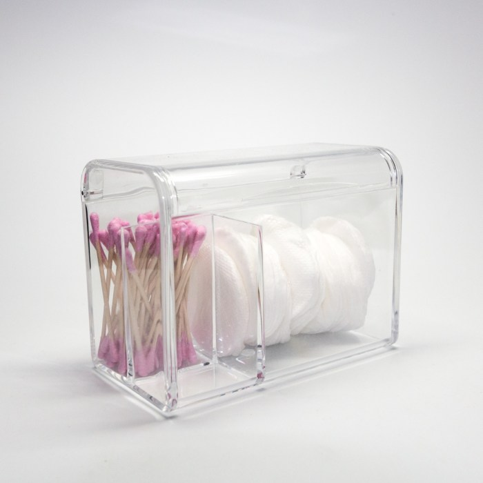 Clear Acrylic Cotton Pads,Cotton balls &Cotton Swabs Organizer with 3 Grids